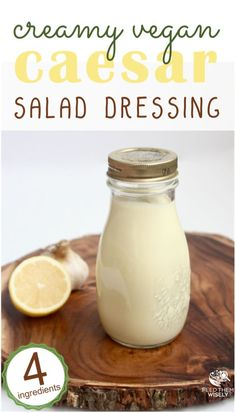 Creamy Caesar Salad Dressing (Vegan & This creamy vegan Caesar dressing is ready in less than 5 minutes. It is also compliant, dairy free, gluten free and paleo! # Feed with care eat healthy food Homemade Caesar Salad Dressing, Salad Dressing Recipes, Salad Dressings, Whole30 Salad Dressing, Gluten Free Salad Dressing, Salad Recipes, Ceaser Dressing Recipe, Sauces, Recipes