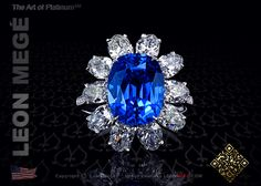 Cluster ring 5.04 carat with natural unheated burma burmese cushion blue sapphire
