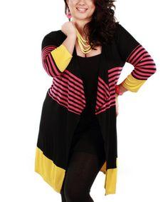Look what I found on #zulily! Black & Pink Stripe Open Cardigan - Plus by Jasmine #zulilyfinds