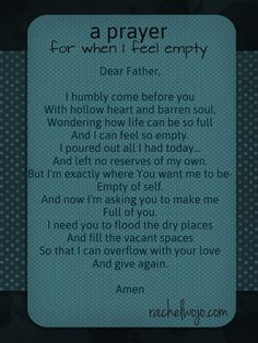 A Prayer for When I Feel Empty - RachelWojo.com