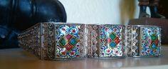 Antique Victorian Persian Cannatille Hand Painted M.O.P Bracelet #Panel