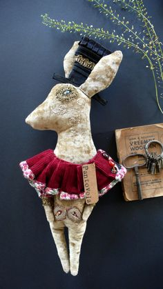 Anouk de Groot - Horace Montgomery the Hare hand made art doll textile art