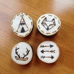 Set of 4 Wood Burned Magnets  Fox  Antlers  Arrows  by ScorchedJAM