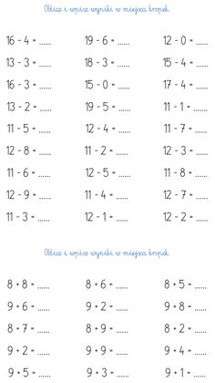 BLOG EDUKACYJNY DLA DZIECI: LICZBY DRUGIEJ DZIESIĄTKI - PRZYKŁADOWE ZADANIA DO 20 2nd Grade Math Worksheets, School Worksheets, First Grade Math, Printable Worksheets, Behavior Chart Toddler, Behaviour Chart, Polish Language, Preschool Math, Math For Kids