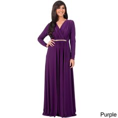 KOH KOH Women's Long Sleeve Caftan Maxi Dress with Glamorous Belt | Overstock.com Shopping - The Best Deals on Evening & Formal Dresses