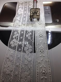I have been making a fancy band with French cotton lace. Now I'm adding a row of… I have been making a fancy band with French cotton lace. Now I'm adding a row of Swiss cotton lace with entredeux.It is attached using… Sewing Lace, Baby Sewing, Vintage Sewing, Fabric Sewing, Sewing Tutorials, Sewing Crafts, Sewing Projects, Sewing Patterns, Sewing Tips