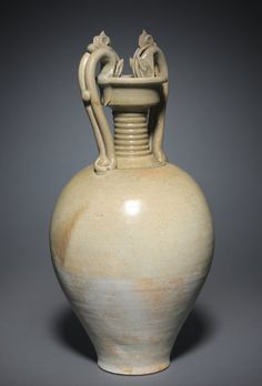 Jar (Amphora) with Dragon Handles, 600s China, Sui dynasty (581-618) to early Tang dynasty (618-907) glazed stoneware with modeled and applied decoration, Diameter: w. 20.30 cm