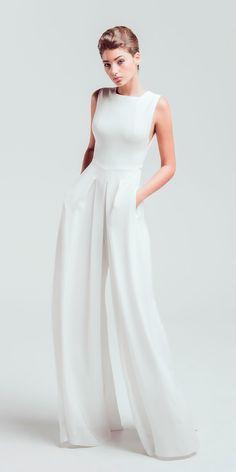 Trend 2018: 24 Wedding Pantsuit And Jumpsuit Ideas ❤ See more: http://www.weddingforward.com/wedding-pantsuit-ideas/ #weddingforward #bride #bridal #wedding