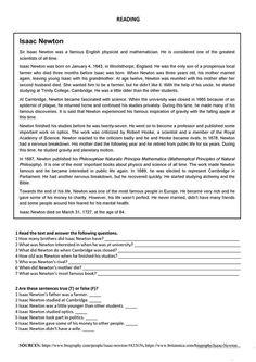 Isaac Newton – reading worksheet – Free ESL printable worksheets made by teachers - Comprehension Exercises, Reading Comprehension Activities, Reading Worksheets, Reading Passages, Printable Worksheets, Reading Genres, Isaac Newton, Reading Practice, Teaching Reading