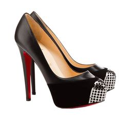 Christian Louboutin Maggie 120 Black Leather and Suede Pumps