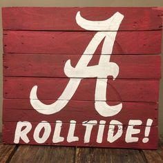 Alabama Crimson Tide Football Roll Tide reclaimed wood sign