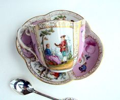Vintage Antique Quatrefoil Cup and Saucer,Dresden Meissen Germany,Porcelain cr.1850,Outdoor scene,Floral,Blue AR Mark,Wolfsohn Hand Painted!! I purchased this rare, exquisite piece in an estate sale store. It is remarkable, as there are no cracks, chips, stains, scratching, flea bites, etc.!!  It is in very good Antique condition. The piece is over 170 years old. The AR mark stands for Augustus Rex. The mark is always painted blue under the glaze.This is a Meissen piece that I believe was…
