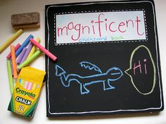 chalkboard book- super cute and so fun! I want one for me;) (spray a board book)