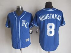 Kansas City Royals #8 Mike Moustakas Alternate Blue KC 2015 MLB Cool Base Jersey