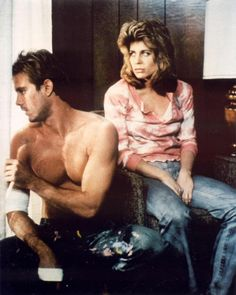 Gritty pic of Michael Biehn (Kyle Reese) and Linda Hamilton (Sarah Connor) in The Terminator.