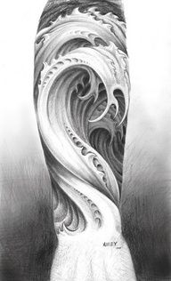 wave sleeve tattoo - Google Search