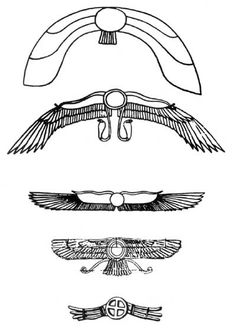 These symbols were found in royal tombs and documents thru Asia Minor, Egypt and nearby countries. They originally symbolized the flying planetoid Nibiru and its high god Anu. Later, similar symbols were used for other celestial gods such as the sun god.