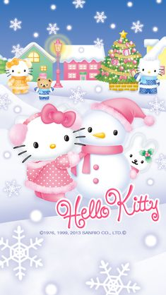 素材画像 hello kitty phone wallpaper snowman