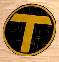 Teen Titans applique logo by Brad Felber, part of Superhero Sunday on fandominstitches.com!