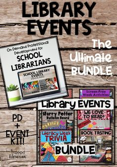 Make your library the center of your school with engaging school library events. This bundle contains two school librarian professional development sessions on library events and six elementary school library event kits! Save on this money-saving bundle and start planning your engaging events today! #thetrappedlibrarian #schoollibrary #elementaryschoollibrary Library Skills, Library Lessons, Elementary School Library, Elementary Schools, Reading Motivation, Library Organization, Library Events, Library Bulletin Boards, Information Literacy