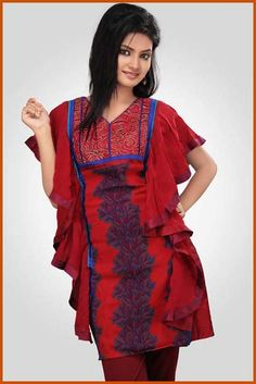 Gorgeous Look #Designer Red Color Party Wear #Kurti