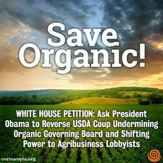 TAKE ACTION: Stop allowing corporations to add gimmicky and risky synthetic chemicals to organics. http://www.cornucopia.org/2014/07/white-house-petition-president-obama-please-reverse-usda-coup-undermining-organics #organic #chemicals