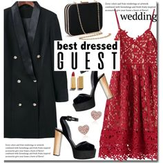 True Romance: Winter Wedding (red lace dress) by beebeely-look on Polyvore featuring polyvore, fashion, style, clothing, wedding, reddress, sammydress, lacedress and winterwedding