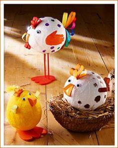 Ausführliche Anleitung, Gibsbinden, Luftballon, lustige Hühner