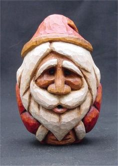 """Egg Santa"", basswood and paint. Simple Wood Carving, Wood Carving Art, Vintage Santa Claus, Vintage Santas, Carved Eggs, Chip Carving, Egg Crafts, Santa Ornaments, Egg Art"
