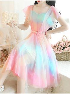 Pretty Outfits, Pretty Dresses, Beautiful Dresses, Stylish Dresses, Stylish Outfits, Girls Fashion Clothes, Fashion Dresses, Korean Fashion Dress, Mesh Dress