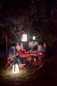 Summer dinner with friends, thank you Fermob : )  Outdoor light different size and colours by Fermob garden chairs and table by Fermob