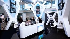 Unusual and memorable design for the leader of the satelite television provider in Russia at the CSTB show in 2012. Design project is based on using four similar pillars having complicated shape with mounted led screens inside from one side and tv-monitors from other side
