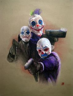 yeah clowns from the dark knight gang of joker in the begining part.... my 4th colour pencil assignment.... prisma colour pencil on 50cmX70cm colour texture paper