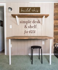 Tutorial for building a simple desk, shelving and brackets on the cheap!