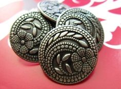 Love this one!!   Flower Metal Buttons  Set 10 Thin Gunmetal Carved by Lyanwood, $5.00
