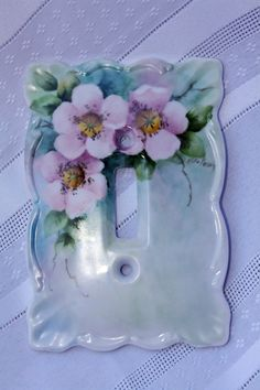Pink Wild Roses hand painted on a porcelain Single Switchplate