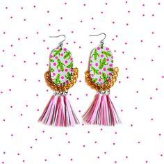 Pink Tassel Earrings, Painted Leather Earrings, Cactus Earrings, Gold Chain Earrings, Statement Earrings, Plant Earrings, Polka Dot Earrings 3.jpg
