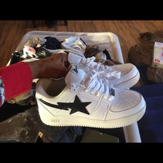 ca65eab722846 Shop Men s Bape White Black size 11 Sneakers at a discounted price at  Poshmark.