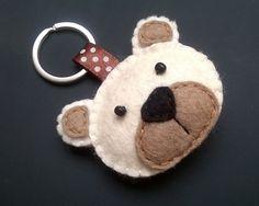 Portachiavi feltro orso - teddy bear - feltro accessori - eco - dono per lui - regalo per suo - portachiavi - feltro animali