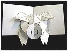 How to Make a Pig Pop up Card (Robert Sabuda Method). Animal lovers will love to make these adorable pig cards. Pop Up Art, Arte Pop Up, 3d Templates, Pop Up Card Templates, Cuento Pop Up, Tarjetas Pop Up, Karten Diy, Paper Pop, Folded Cards