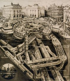 """""""Cross-section of booking hall, escalators, interchange passageways and platforms of 'new' Piccadilly Circus station - known as the 'stomach' diagram.  Photographed by Topical Press, 23 May 1936"""""""