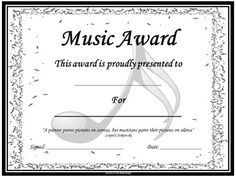 Music Award Certificates *editable* This file now contains 50 **editable** certificates making it possible for you to add your students' names! Certificate Of Recognition Template, Certificate Templates, Certificate Border, Music Lessons For Kids, Piano Lessons, Baby Dedication Certificate, Essay Writing Competition, Award Template, Piano Recital
