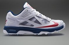 f1fd11d8f37b Nike Lunar Dominate Cricket Shoes - Mens Cricket Shoes - White-Blue-Red