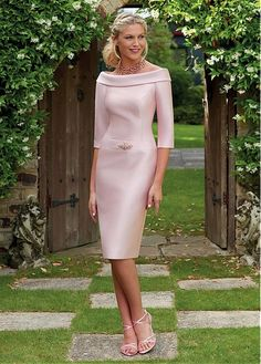 Wedding Dresses Ball Gown, Modern Satin Portrait Neckline Length Sleeves Knee-length Sheath/Column Bridesmaid Dresses With Beadings DressilyMe Mother Of Bride Outfits, Mother Of Groom Dresses, Mothers Dresses, Short Fitted Dress, Short Dresses, Formal Dresses, Bridal Party Dresses, Bridesmaid Dresses, Wedding Dresses