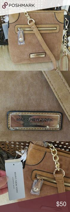Marc New York Suede Cross Body Gorgeous suede cross body with gold chains   Length is 8.5 inches Width is 2 inches Height is 9 inches Andrew Marc Bags Crossbody Bags