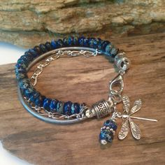 Boho Bracelet, beaded Bohemian Wrap, Single Wrap, Dark Blue Sea Sediment Imperial Jasper Stones, boho Charm Bracelet
