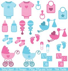 Baby Clip Art Clipart, Boy and Girl Baby Shower Clip Art Clipart - Commercial…