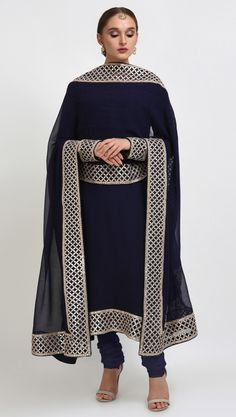 Navy Blue Hand Embroidered Gota Patti Work Suit With Dupatta