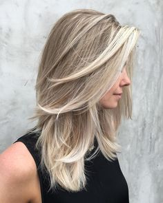 blonde hair-blonde highlights-blonde balayage-blonde haircolor-blonde- ash blonde- long bob- medium length hair- hand painted hair- sunkissed- layered hair cut- side fringe-