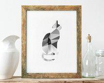 Print, abstrakte geometrische Wandkunst, moderner Hauptdekor, Niedlich, geometrische Cat Print, einzigartige Geschenkideen, Galerie Kunst Poster Wand Kunst - PT0234